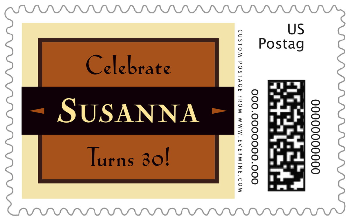 custom large postage stamps - saddle brown - xenith (set of 20)