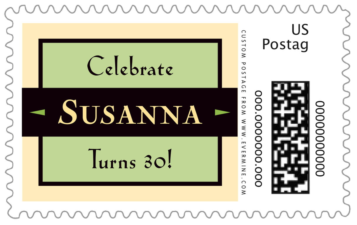 custom large postage stamps - lime & gold - xenith (set of 20)