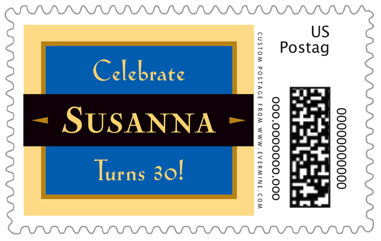 custom large postage stamps - royal blue & gold - xenith (set of 20)
