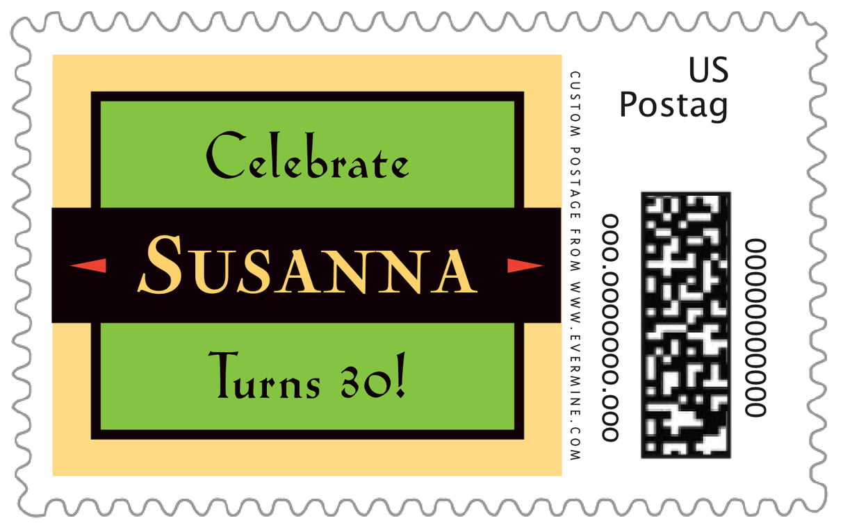 custom large postage stamps - lime - xenith (set of 20)