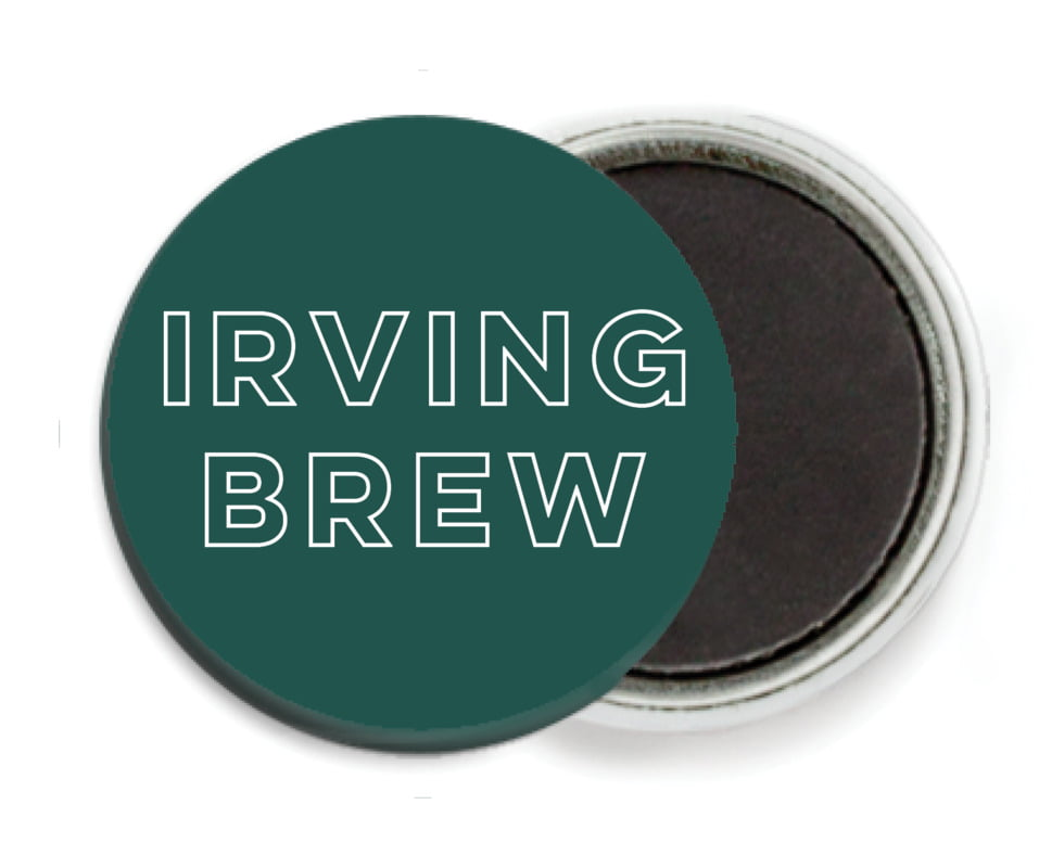 custom button magnets - deep green - aurora (set of 6)