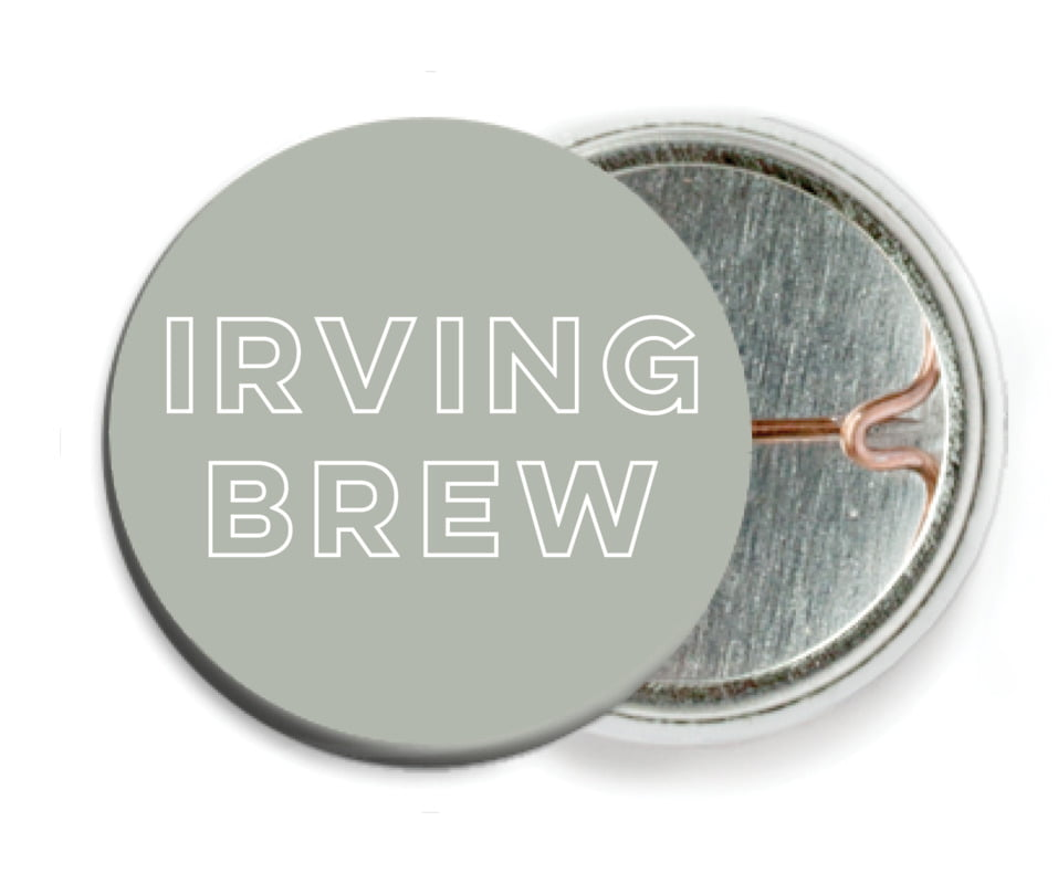 custom pin back buttons - pewter grey - aurora (set of 6)