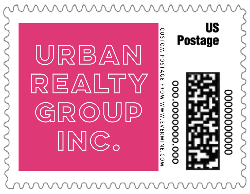 small custom postage stamps - bright pink - aurora (set of 20)