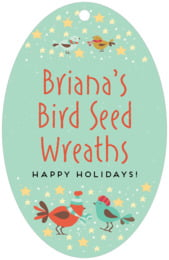 Merry Birdies large oval hang tags