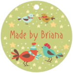 Merry Birdies circle hang tags