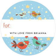 Merry Birdies large circle gift labels
