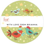 Merry Birdies small circle gift labels