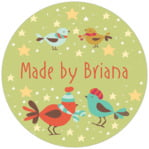 Merry Birdies Circle Label In Green Tea