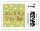 Merry Birdies Small Postage Stamp In Green Tea