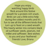 Merry Birdies circle text labels