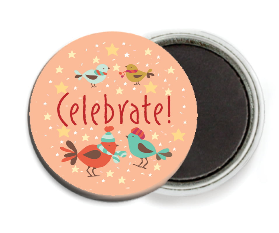 custom button magnets - peach - merry birdies (set of 6)