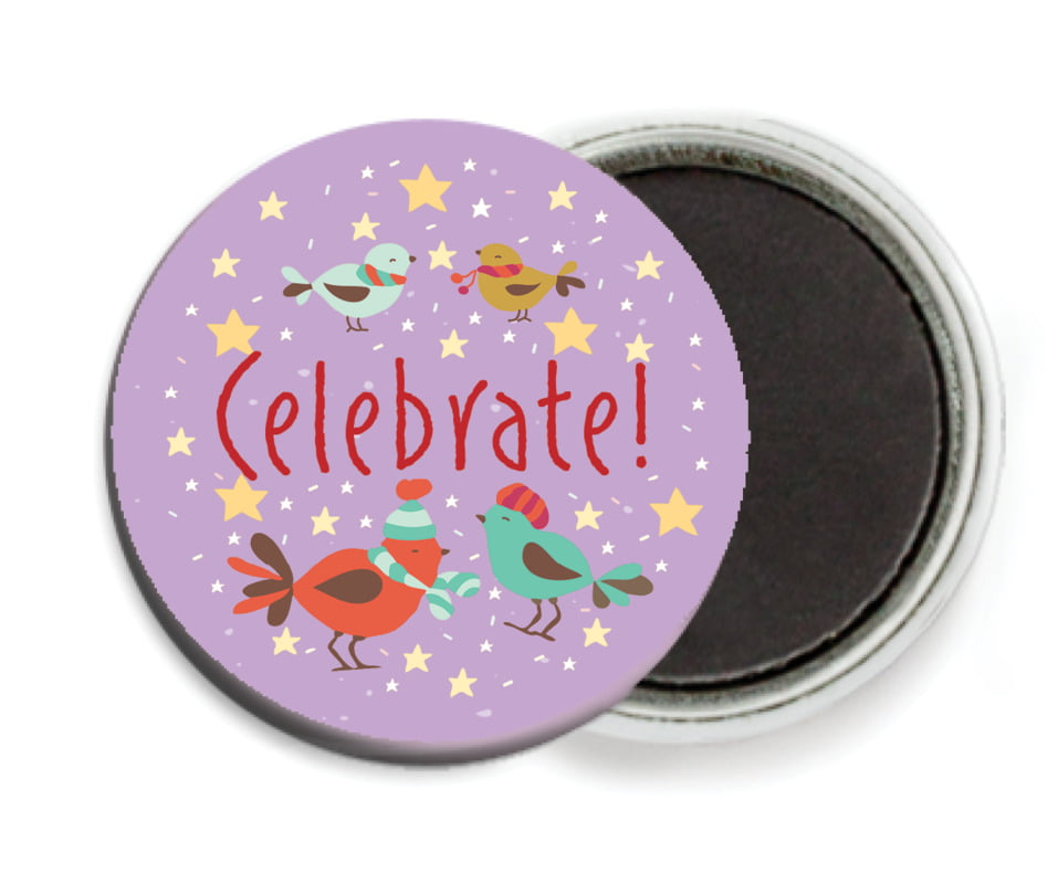 custom button magnets - purple - merry birdies (set of 6)