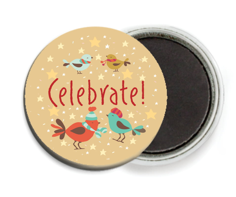custom button magnets - deep gold - merry birdies (set of 6)