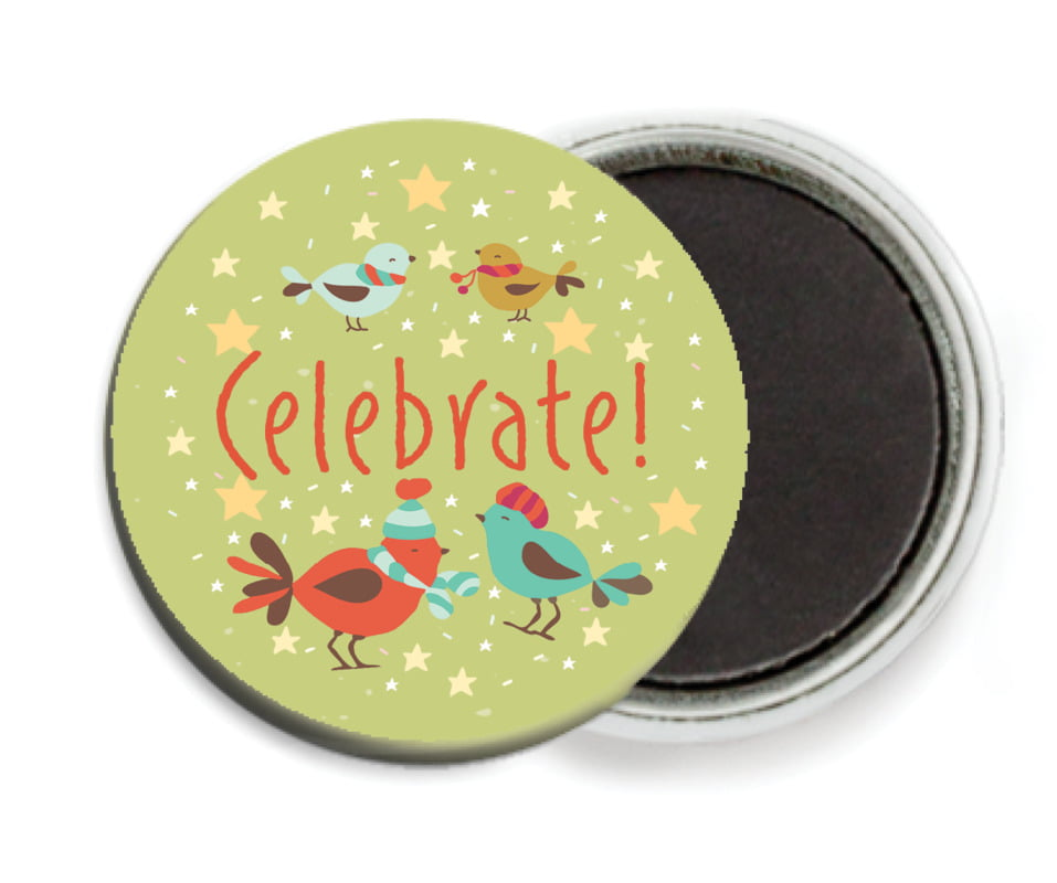 custom button magnets - green tea - merry birdies (set of 6)