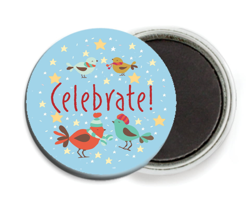 custom button magnets - sky - merry birdies (set of 6)