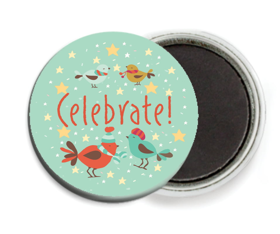 custom button magnets - mint - merry birdies (set of 6)