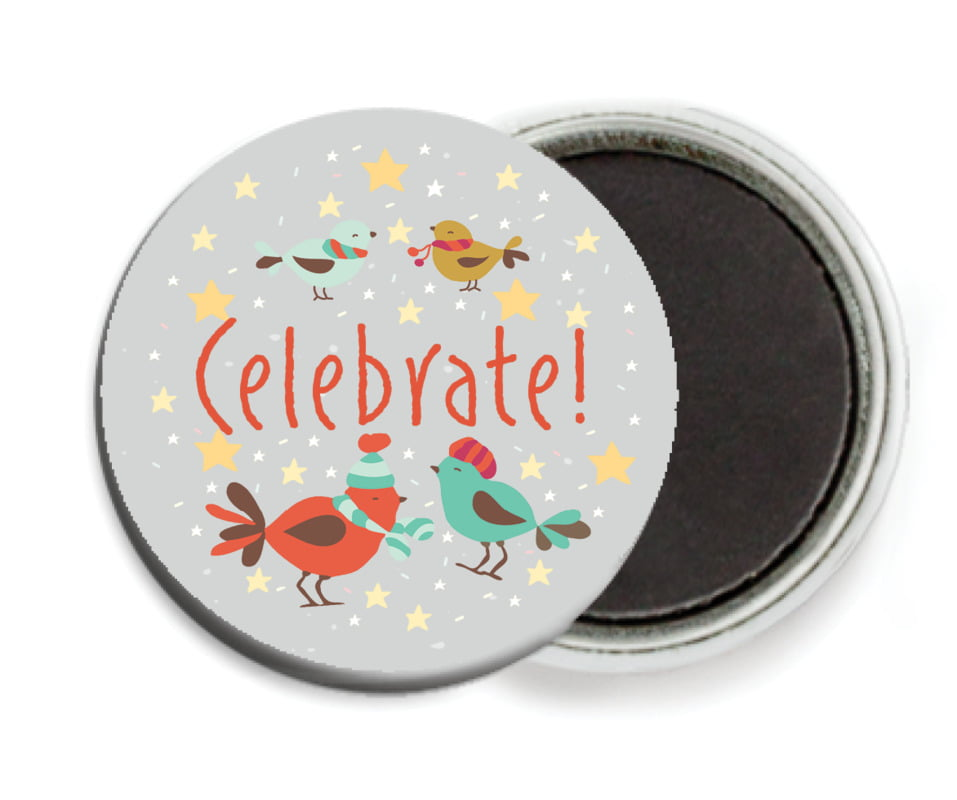 custom button magnets - stone - merry birdies (set of 6)