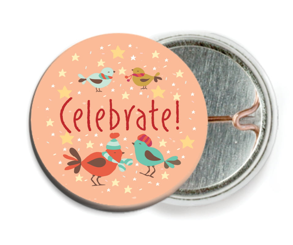 custom pin back buttons - peach - merry birdies (set of 6)