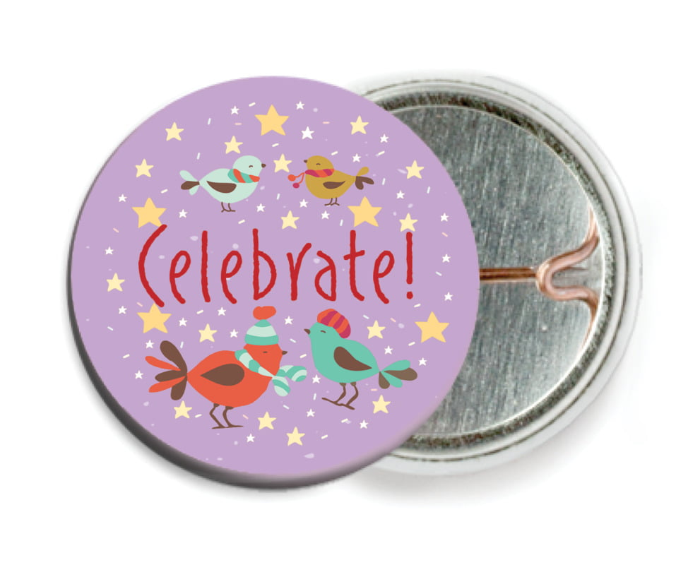 custom pin back buttons - purple - merry birdies (set of 6)