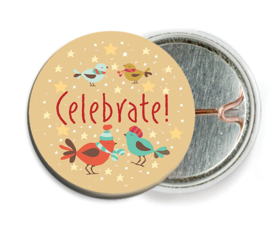 custom pin back buttons - deep gold - merry birdies (set of 6)
