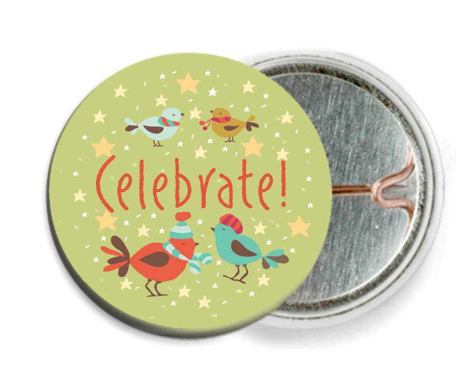 custom pin back buttons - green tea - merry birdies (set of 6)