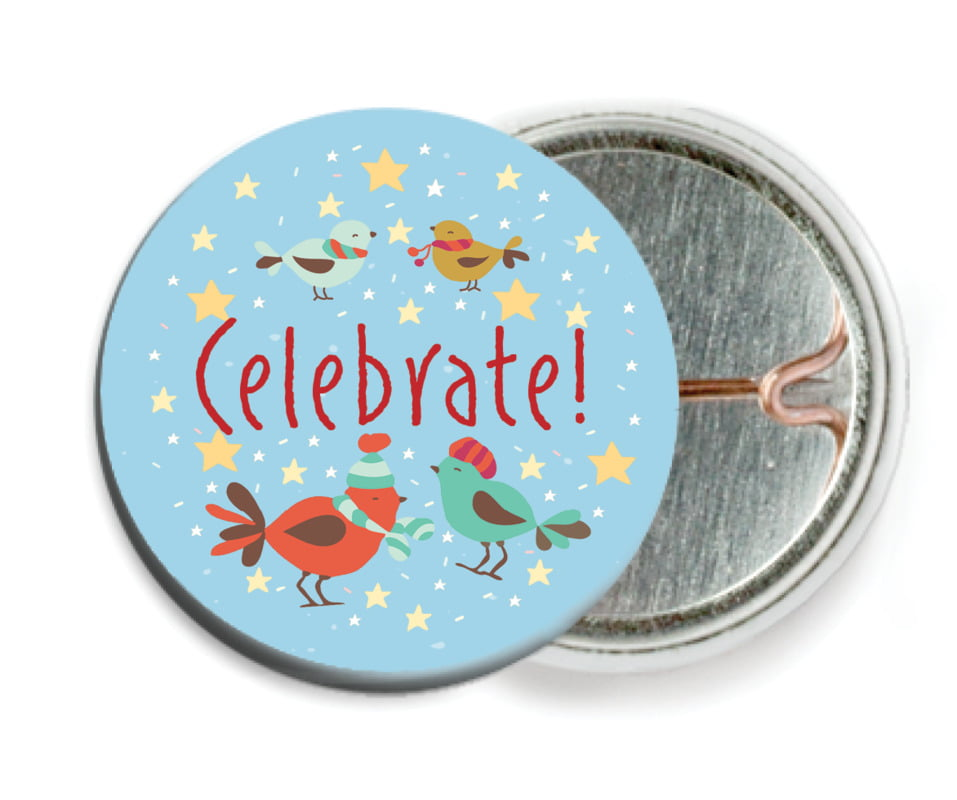 custom pin back buttons - sky - merry birdies (set of 6)