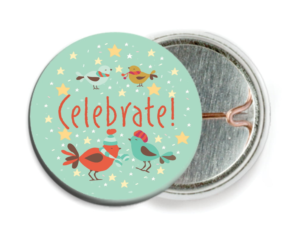 custom pin back buttons - mint - merry birdies (set of 6)