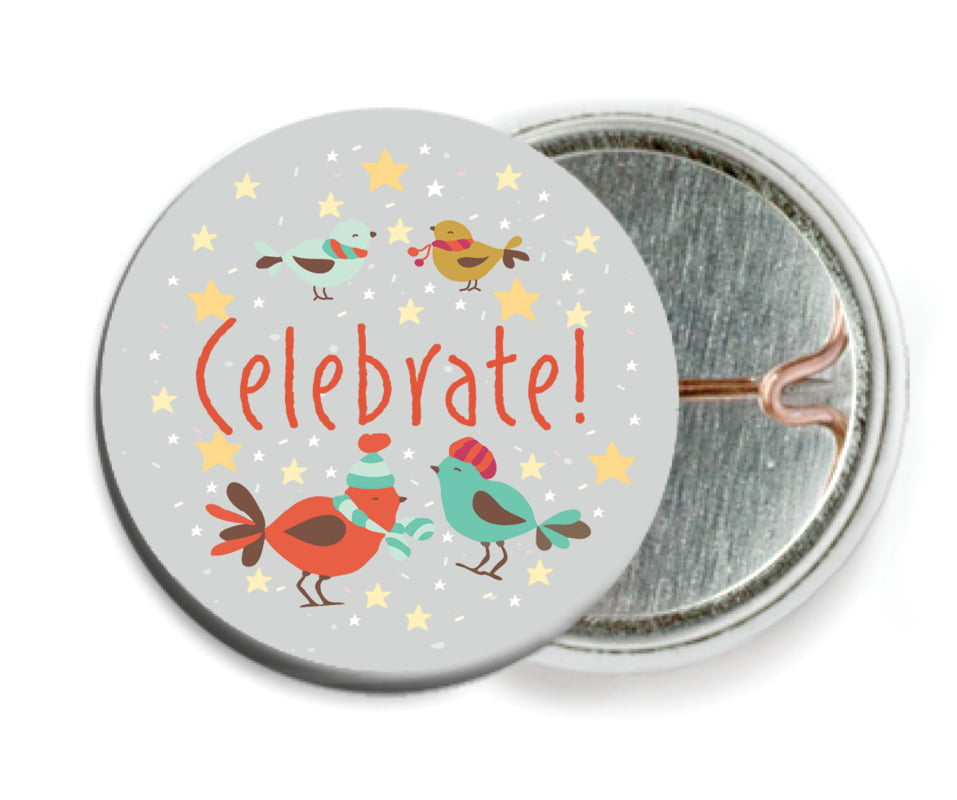 custom pin back buttons - stone - merry birdies (set of 6)