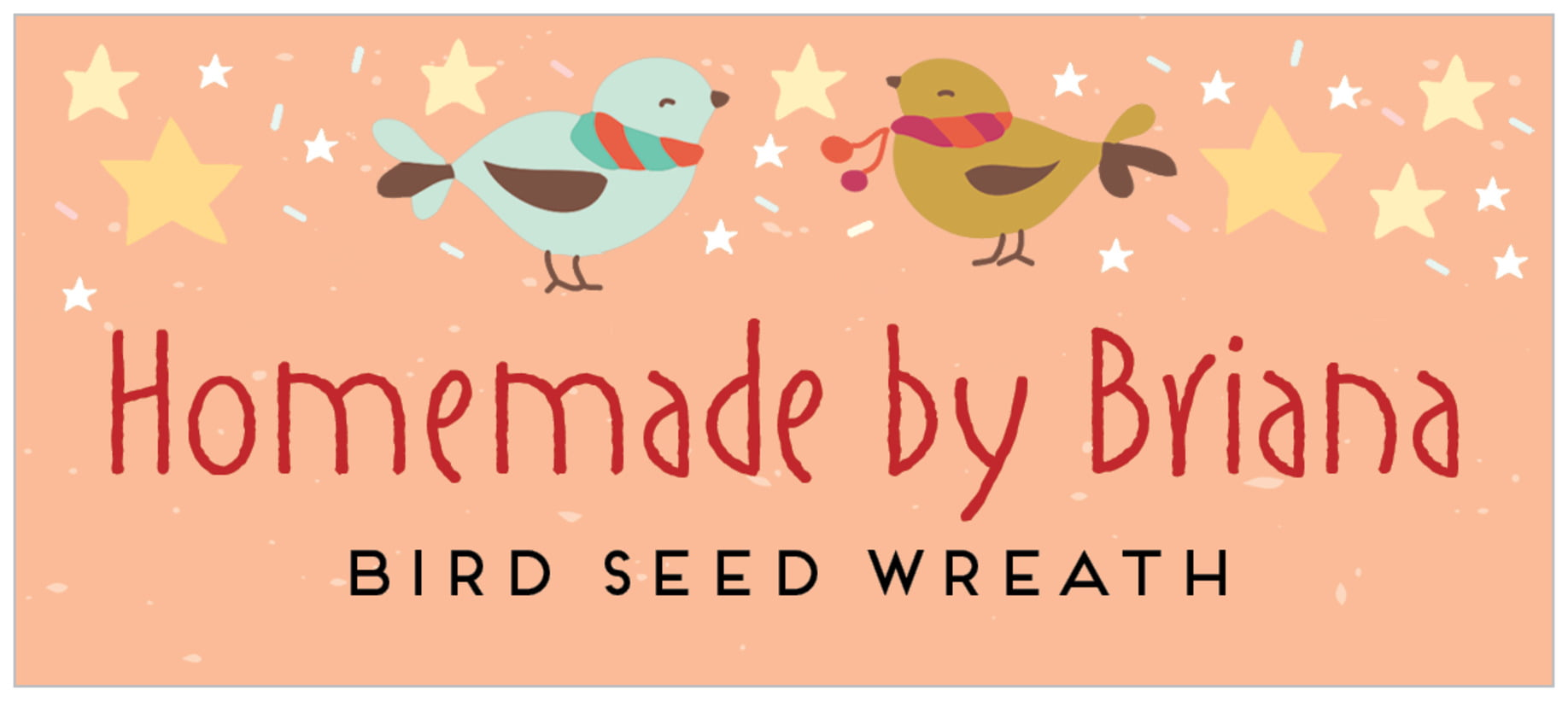 small rectangle food/craft labels - peach - merry birdies (set of 24)