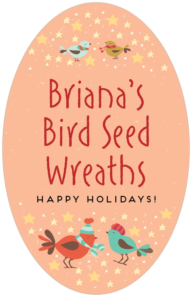 large oval food/craft labels - peach - merry birdies (set of 8)