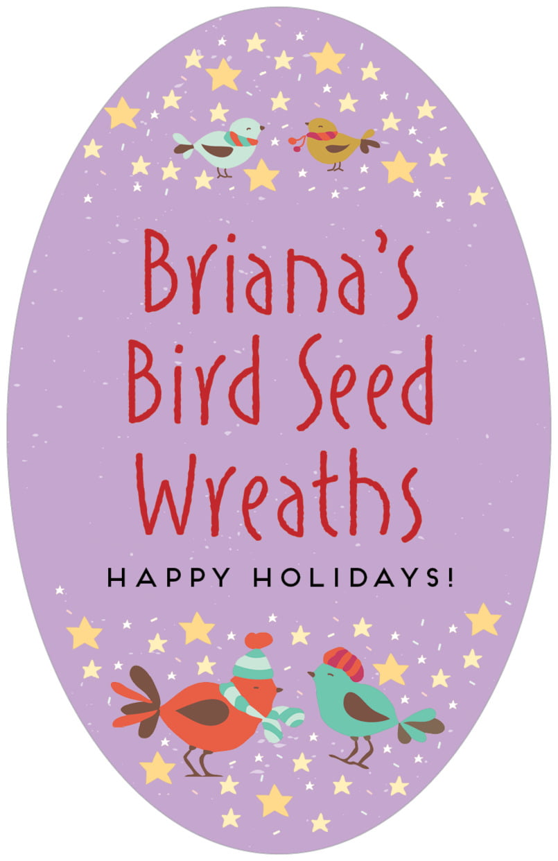 large oval food/craft labels - purple - merry birdies (set of 8)