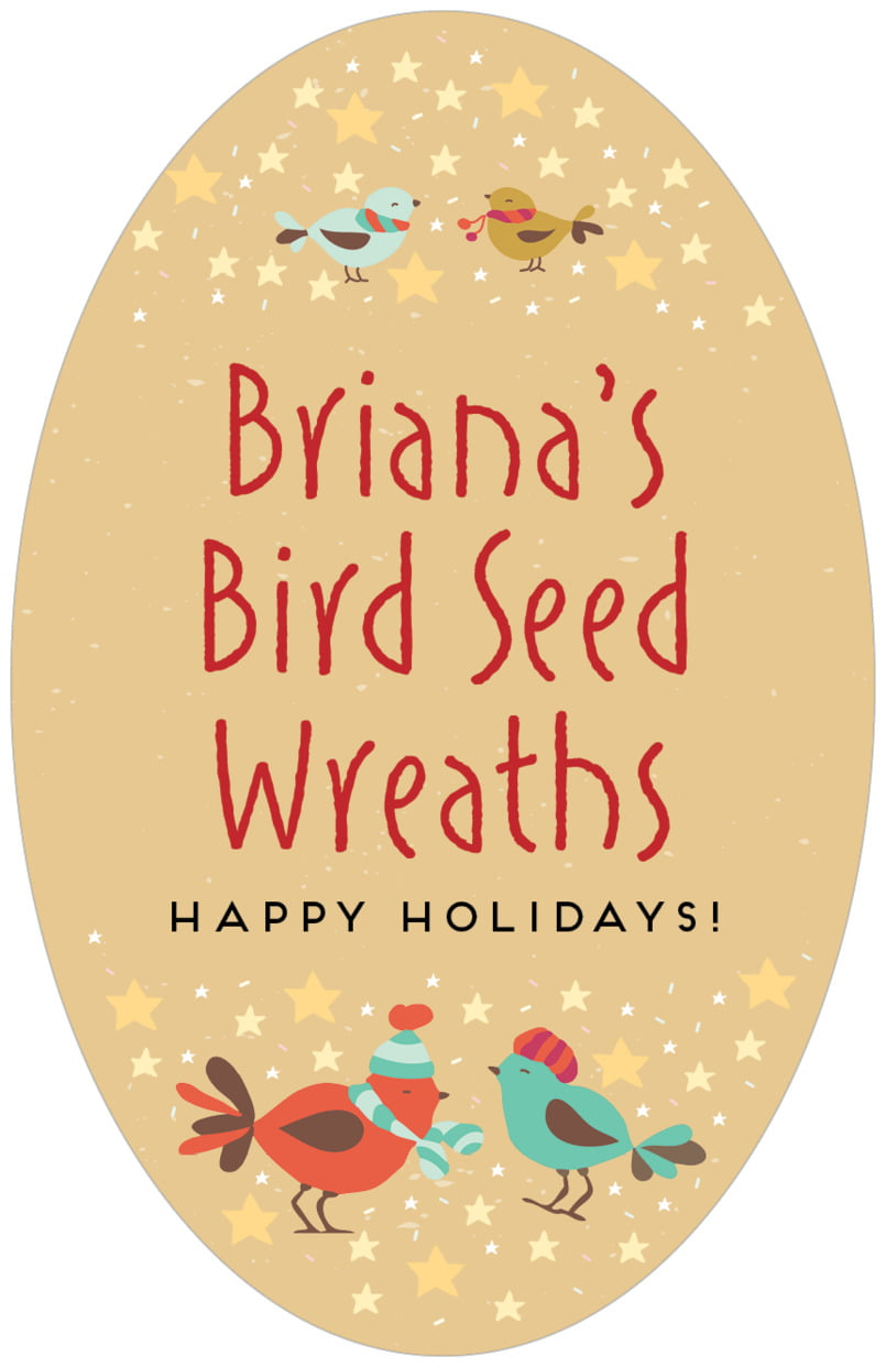 large oval food/craft labels - deep gold - merry birdies (set of 8)