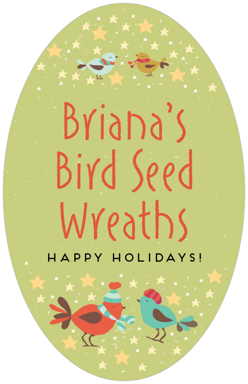 large oval food/craft labels - green tea - merry birdies (set of 8)