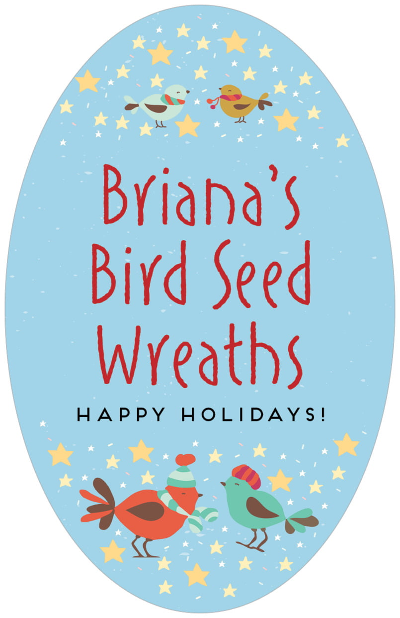 large oval food/craft labels - sky - merry birdies (set of 8)
