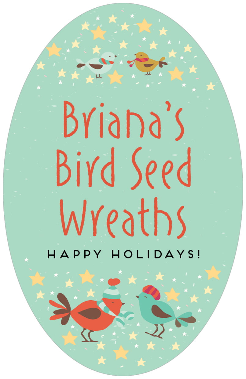 large oval food/craft labels - mint - merry birdies (set of 8)
