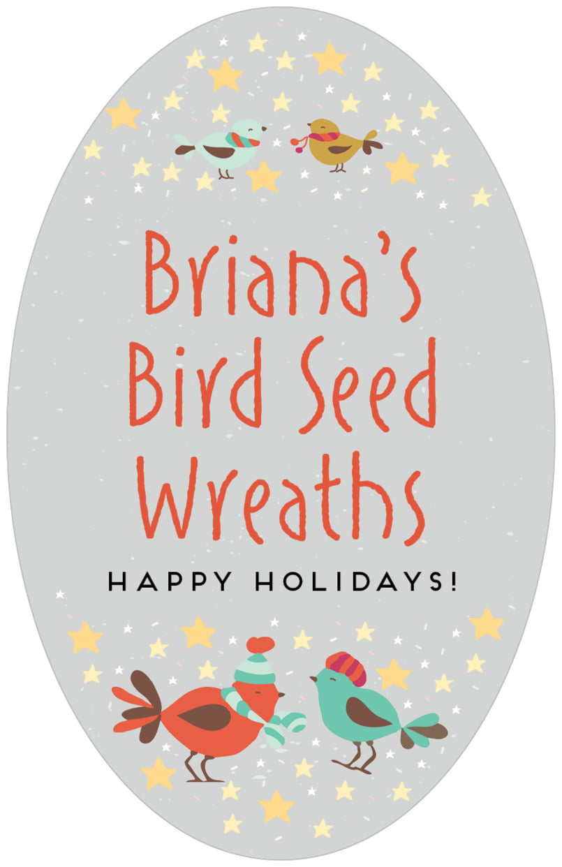 large oval food/craft labels - stone - merry birdies (set of 8)