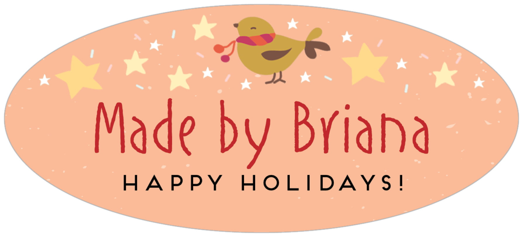 oval food/craft labels - peach - merry birdies (set of 30)