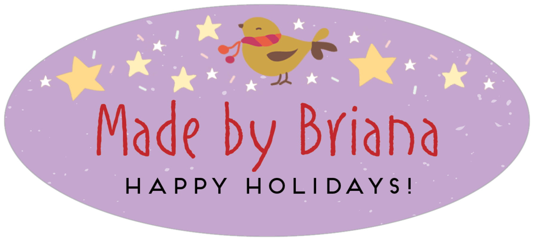 oval food/craft labels - purple - merry birdies (set of 30)