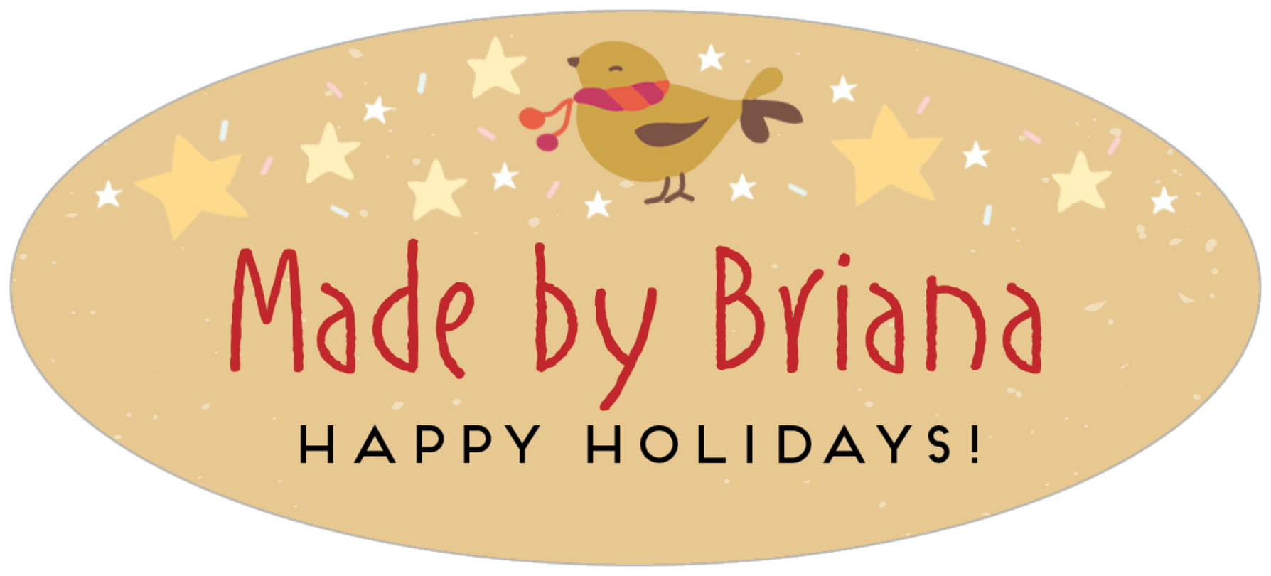 oval food/craft labels - deep gold - merry birdies (set of 30)