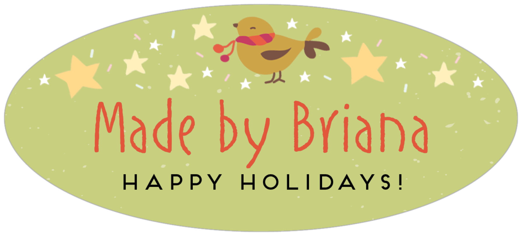 oval food/craft labels - green tea - merry birdies (set of 30)