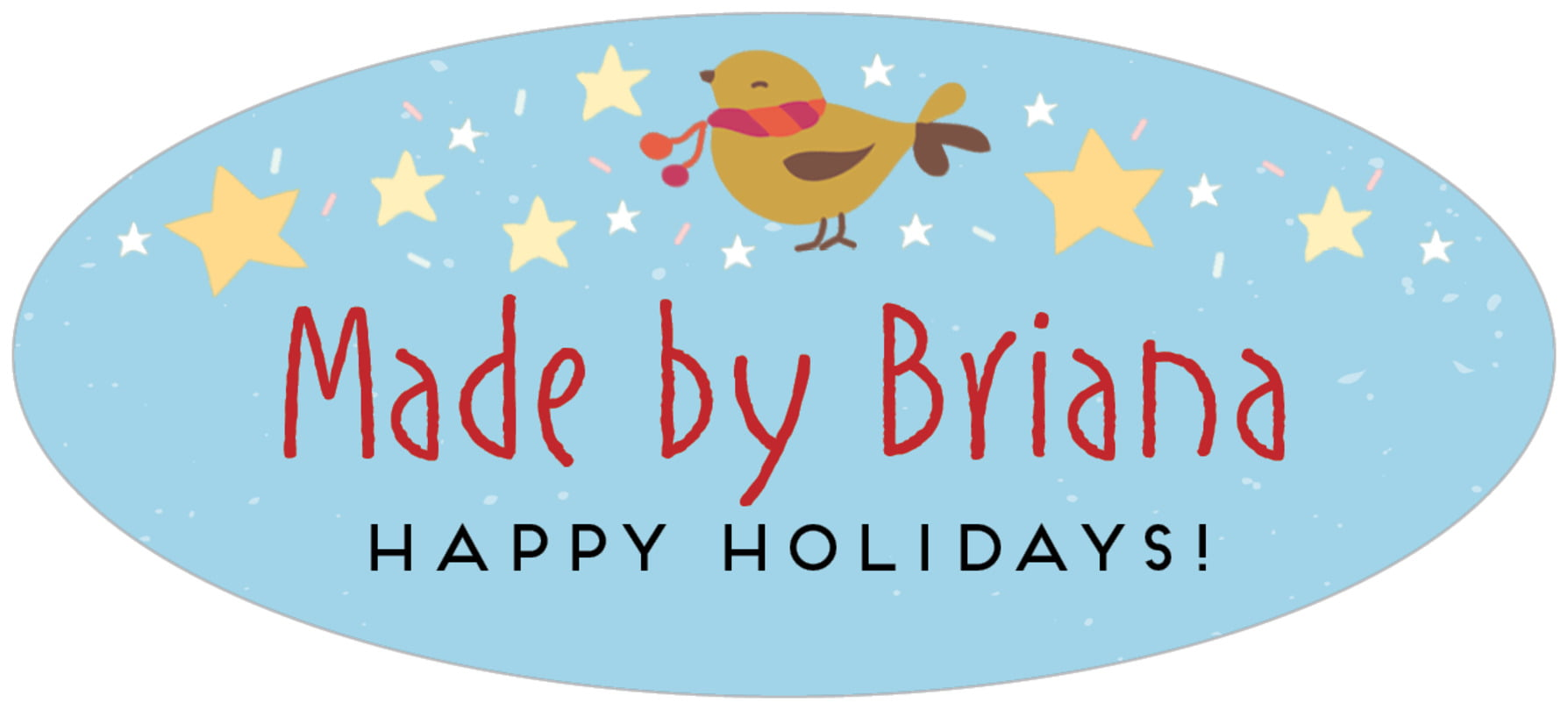 oval food/craft labels - sky - merry birdies (set of 30)