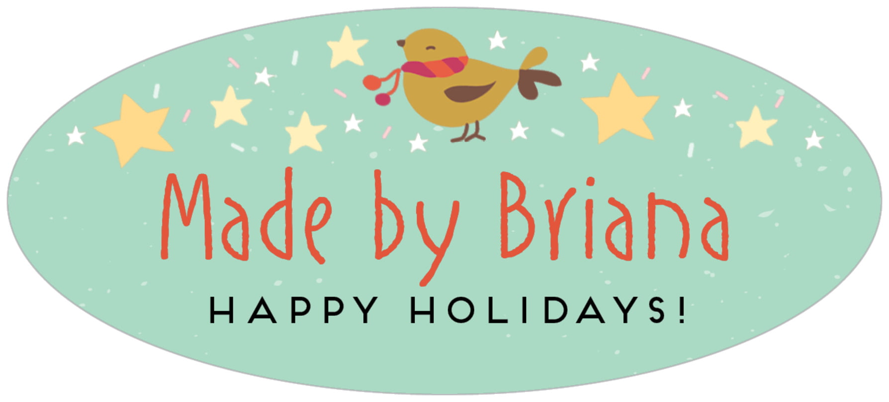 oval food/craft labels - mint - merry birdies (set of 30)