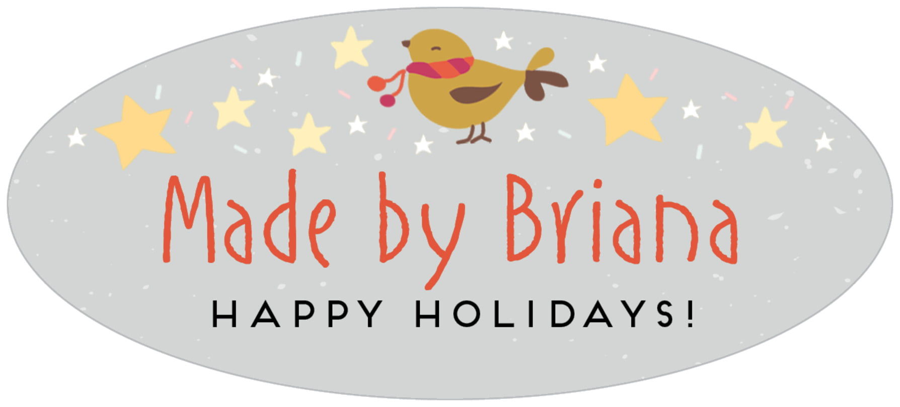 oval food/craft labels - stone - merry birdies (set of 30)