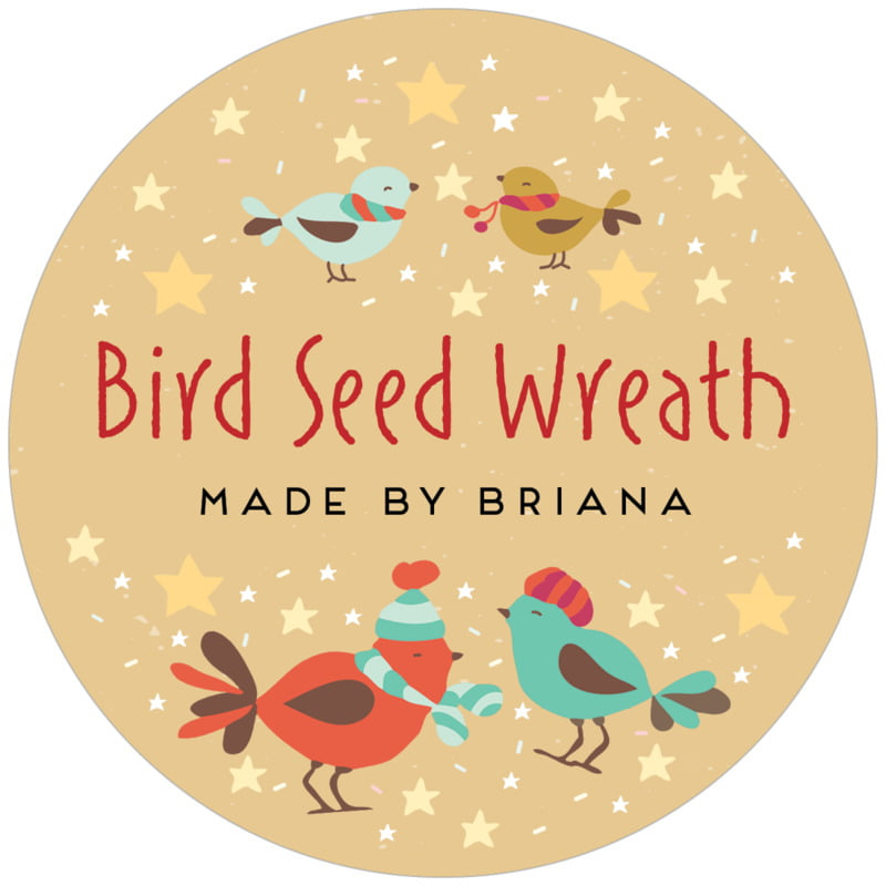 circle food/craft labels - deep gold - merry birdies (set of 12)