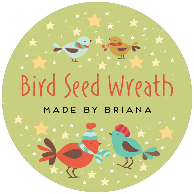 circle food/craft labels - green tea - merry birdies (set of 12)
