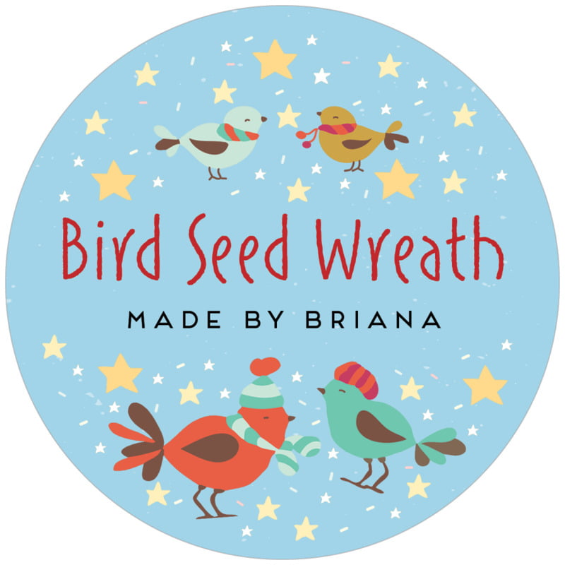 circle food/craft labels - sky - merry birdies (set of 12)