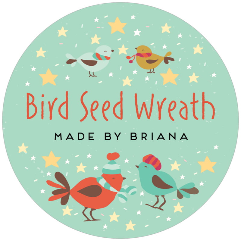 circle food/craft labels - mint - merry birdies (set of 12)