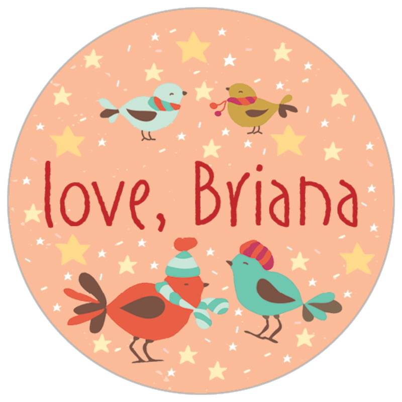small circle food/craft labels - peach - merry birdies (set of 70)