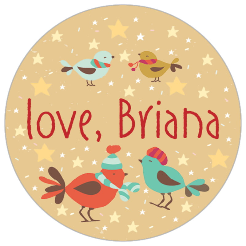 small circle food/craft labels - deep gold - merry birdies (set of 70)