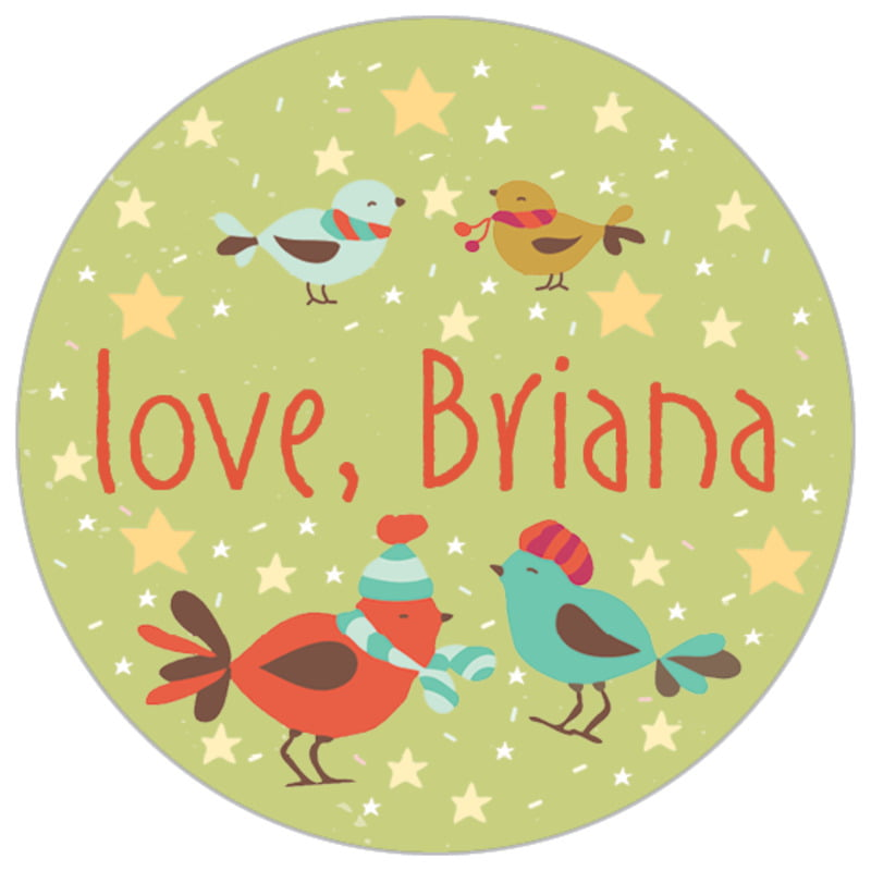 small circle food/craft labels - green tea - merry birdies (set of 70)